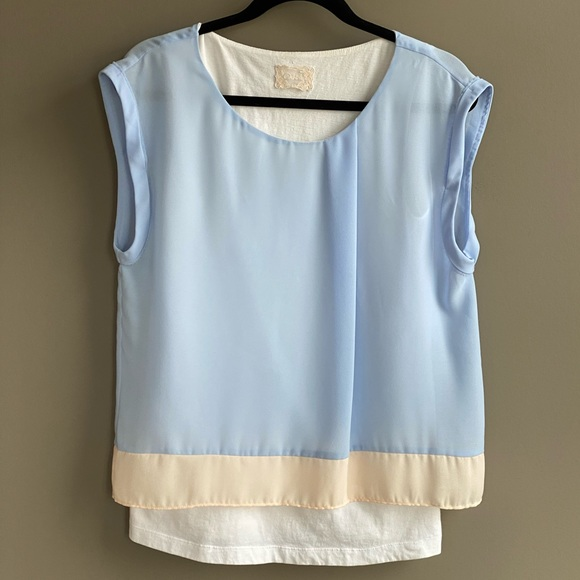 Anthro Boxy Color Block Tee Pleated Detail
